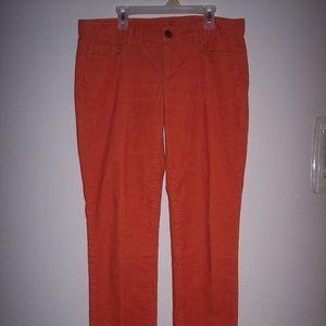 J Crew Orange Corduroy Boot Cut Pants Size 29
